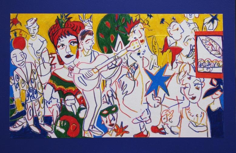 arts centre. coloured pencil collage.