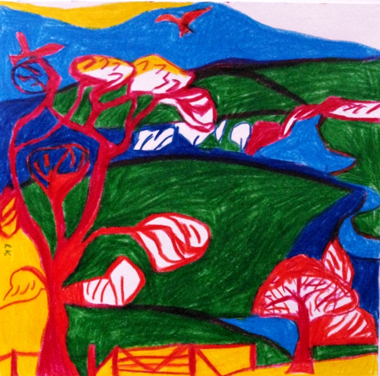 Red kites and rivers 31 x 26cm